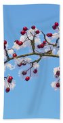 Red Haws Frosted By Snow Bath Towel