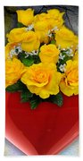 Red Heart Vase With Yellow Roses Bath Towel