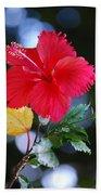 Red Hibiscus Flower Bath Towel