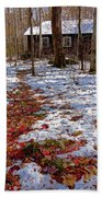 Red Leaves On Snow - Cabin In The Woods Bath Towel