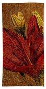 Red Lily Gold Leaf Bath Towel