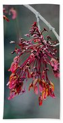 Red Maple Flowers Bath Towel