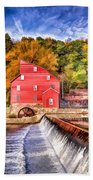Red Mill Painted Bath Towel