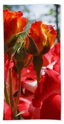 Red Orange Roses Art Prints Floral Photography Bath Towel