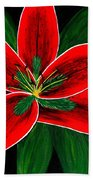 Red Oriental Lily Bath Towel