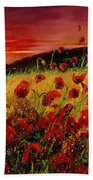 Red Poppies And Sunset Bath Towel