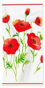 Red Poppies Botanical Design Hand Towel