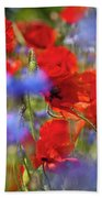 Red Poppies In The Maedow Bath Towel