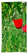 Red Poppies Near Meryem Ana Evi-cottage Believed To Be Mary's Last Home-turkey Bath Towel
