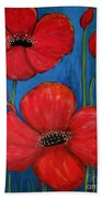 Red Poppies On Blue Bath Towel