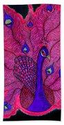 Red - Purple Peacock Bath Towel