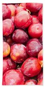 Red Ripe Plums Bath Towel