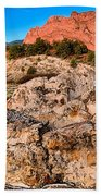 Red Rocks Over White Bath Towel