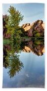 Red Rocks Reflection Bath Towel