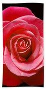 Red Rose On Black Bath Towel