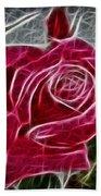 Red Rose Expressive Brushstrokes Bath Towel