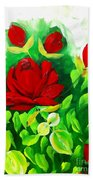 Red Roses From The Garden Impression Bath Towel