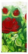 Red Roses From The Garden Bath Towel