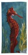 Red Seahorse - Sold Bath Towel