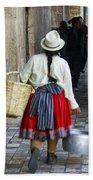 Red Skirted Woman Of Cuenca Bath Towel