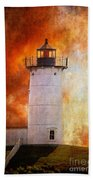 Red Sky At Morning - Nubble Lighthouse Bath Towel