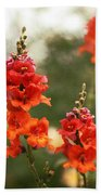 Red Snapdragons Bath Towel