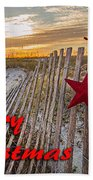 Red Star On Fence Bath Towel