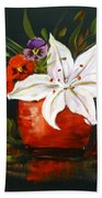 Red Vase With Lily And Pansies Bath Towel