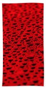 Red Water Drops On Water-repellent Surface Bath Towel