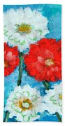 Red White And Blue Zinnia Flowers Bath Towel
