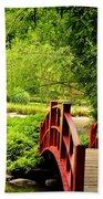 Red Wooden Bridge Bath Towel