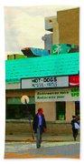 Rediscover Your Greenspot Notre Dame St Henri Dogs Et Frites Urban Food City Scenes Carole Spandau  Bath Towel