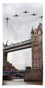 Reds Over Tower Bridge Bath Towel