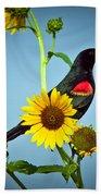 Redwing In Sunflowers Bath Towel