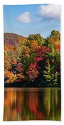 Reflection Of Autumn Trees In A Pond Bath Towel