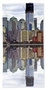 Reflection Of Downtown Nyc Bath Towel
