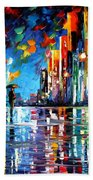Reflections Of The Blue Rain - Palette Knife Oil Painting On Canvas By Leonid Afremov Bath Towel