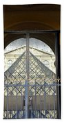 Reflections Of The Musee Du Louvre In Paris France Bath Towel