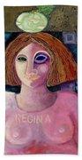 Regina, 2004 Acrylic & Metal Leaf On Canvas Bath Towel