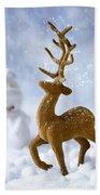 Reindeer In Snow Bath Towel