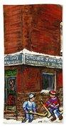Restaurant Epicerie Jean Guy Pointe St. Charles Montreal Art Verdun Winter Scenes Hockey Paintings   Bath Towel