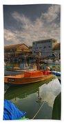 resting boats at the Jaffa port Bath Towel