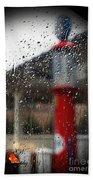 Retro Gas Pump On A Rainy Day Bath Towel
