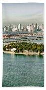 Retro Style Miami Skyline And Biscayne Bay Bath Towel