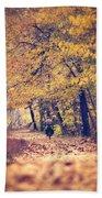 Riding A Bike In Autumn Bath Towel