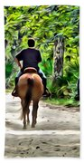Riding In The Woods Bath Towel