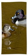 Ring-necked Duck Pair Bath Towel