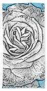 Ritzy Rose With Ink And Blue Background Bath Towel