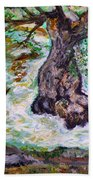 River And Plane Tree Bath Towel