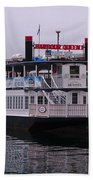 River Boat At Dock Hand Towel